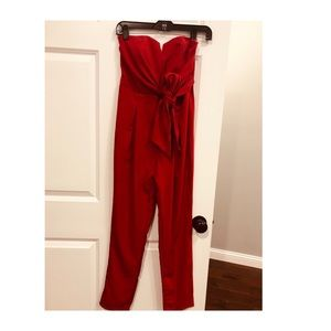 Red one piece jumpsuit